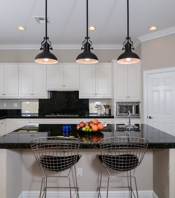 Cool Calm + Curated transitional-kitchen