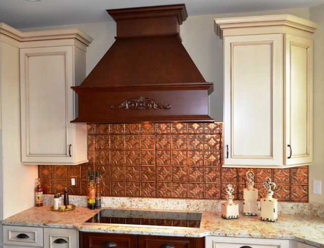 Cool Copper Backsplash Contemporary Kitchen Tampa