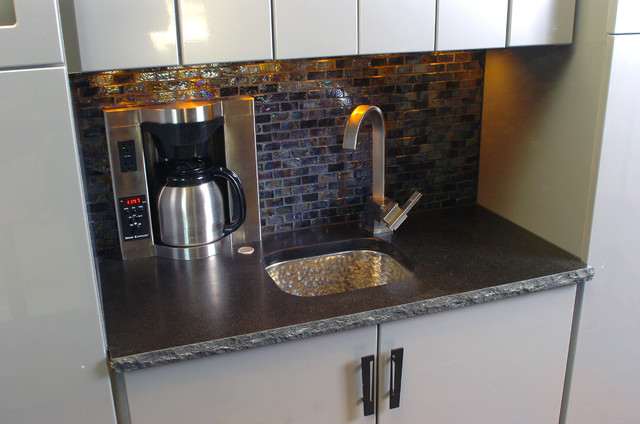 Wet Bar Coffee Maker And Sink Contemporary