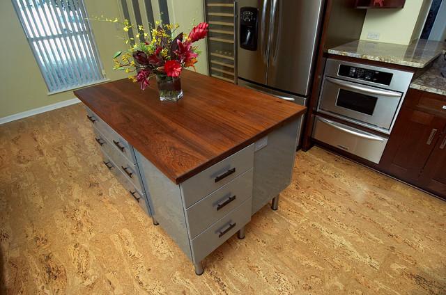 Island, Teak Countertop, Cork Floor, Wine Refrigerator   Rustic .