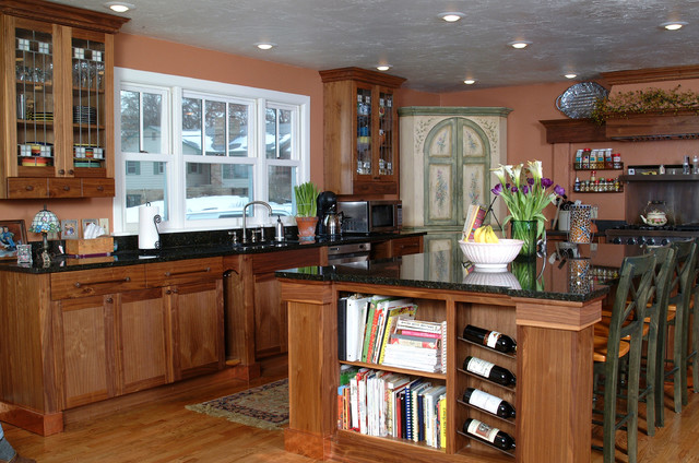 Craftsman Style Kitchen With Walnut Cabinets Traditional Kitchen