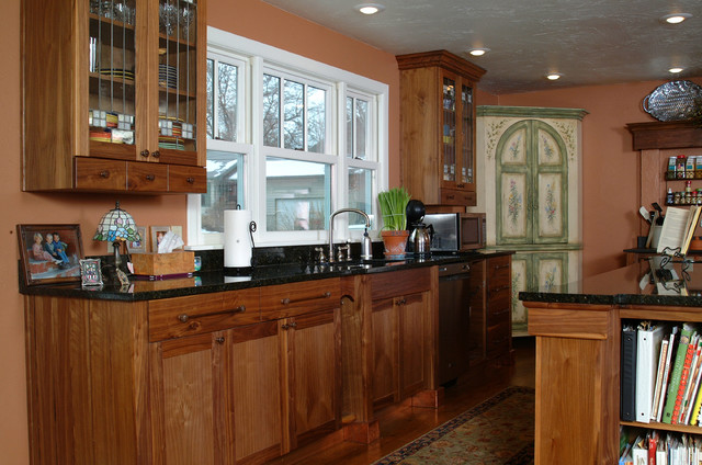 Craftsman Style Bathroom Wall Cabinets : Copper accented craftsman style kitchen with walnut