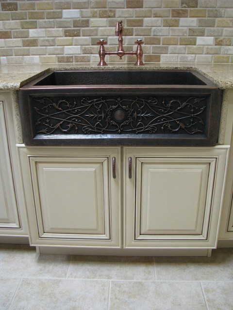 Apron Front Copper Sink Traditional Kitchen