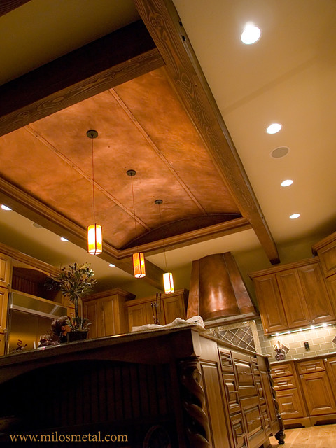 Copper Ceiling Panels And Kitchen Hood Traditional