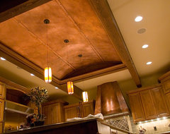 Copper ceiling panels and kitchen hood traditional kitchen
