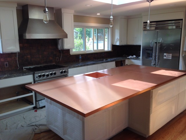 Copper counter tops transitional kitchen san francisco by concord sheet metal - Space saving movable kitchen island get efficient kitchen traffic ...