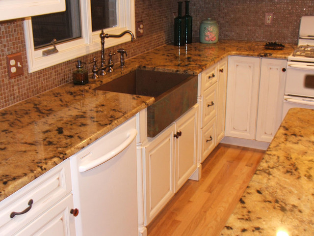 Copper farm sink in white kitchen  Traditional  Kitchen  other