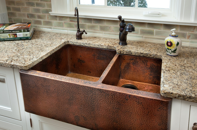 Copper Farm Sink Traditional Kitchen