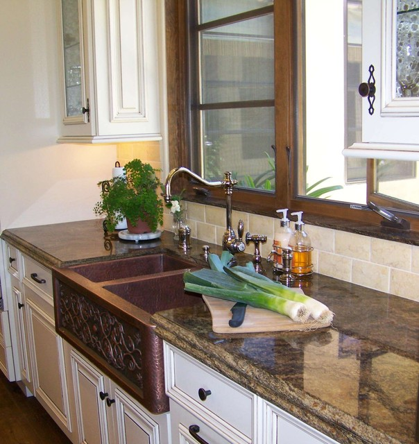Kitchen Cabinet San Diego: Copper Farmhouse Sink- Close Up