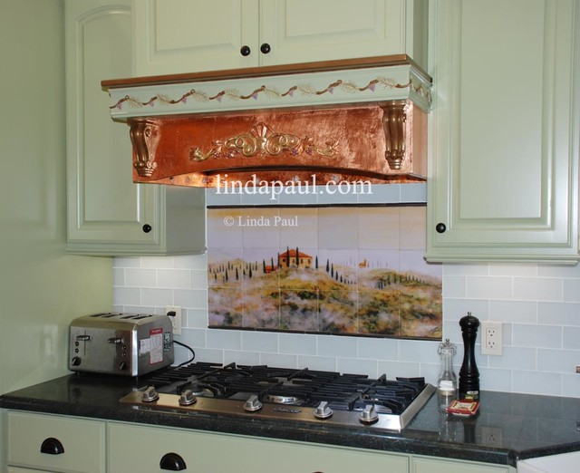 Copper hood with tuscan backsplash in italian farmhouse for Tuscan style kitchen backsplash