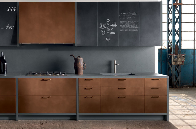 Copper Kitchen Cabinets Modern New York By