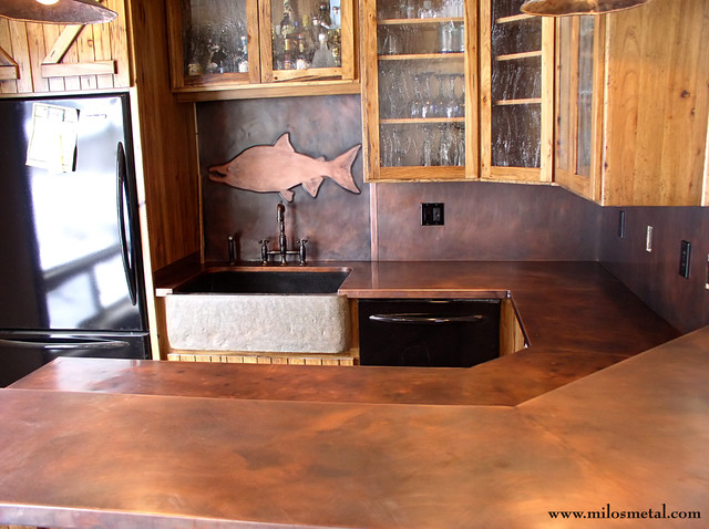 Copper Rustic Countertops Traditional Kitchen