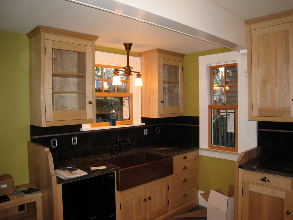 Copper Sink, Ash Cabinets and Slate Floor Make This ...