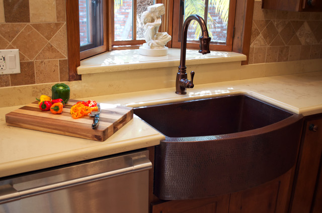 Apron Front Sink With Backsplash : COPPER SINK INSTALLATIONS - Traditional - Kitchen - Los Angeles - by ...
