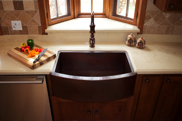 Copper Sink Installations Traditional Kitchen
