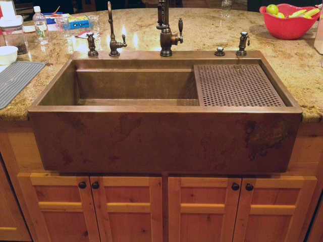 Copper top mount drop in Farmhouse Sink by Rachiele Traditional Kitchen