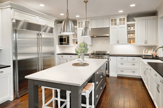 Corian® quartz london sky transitional kitchen philadelphia