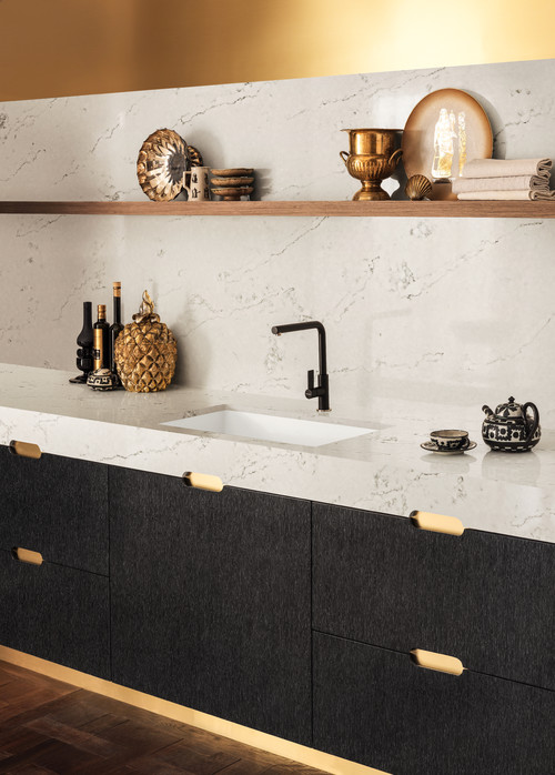 Example Of A Thicker Countertop Design. Photo By Corian Designs Featuring  The Zodiaq® London Sky Quartz Countertop.
