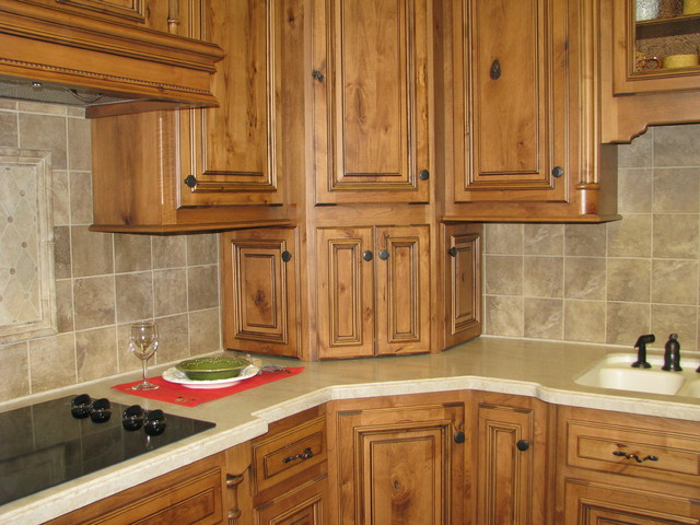 Elegant Corner Cabinet Design Traditional Kitchen