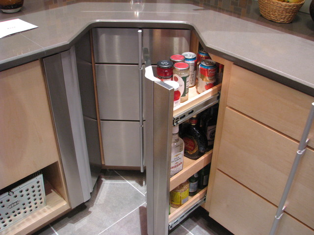 Corner cabinet storage options - Contemporary - Kitchen - Denver ...