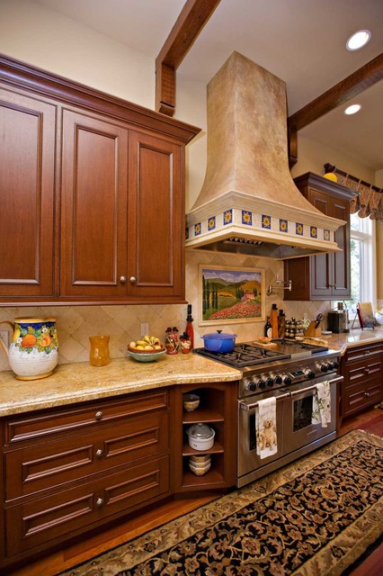 Corner cabinetry with shelves in bay area custom kitchen for Traditional kitchen shelves