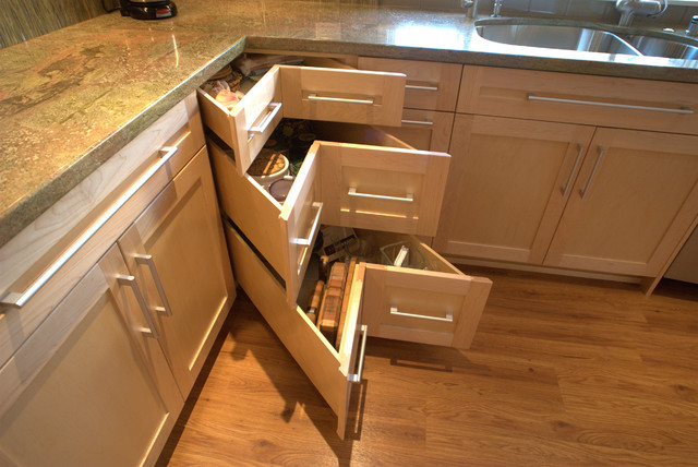 Corner drawers contemporary kitchen san diego by design moe kitchen bath heather moe Drawers in kitchen design