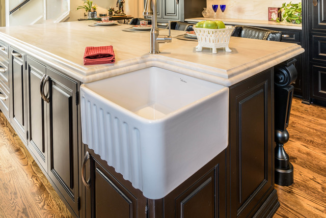 Corner Farm Sink Black Custom Inset Cabinet