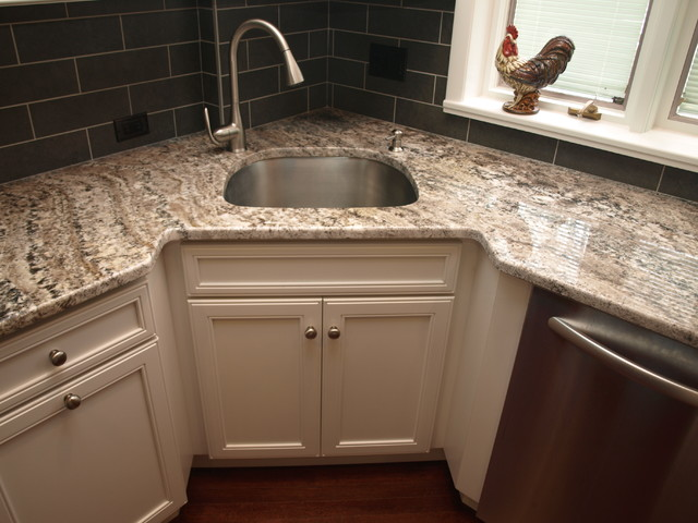 Corner sink transitional kitchen newark by kraftmaster renovations - Kitchen designs with corner sinks ...