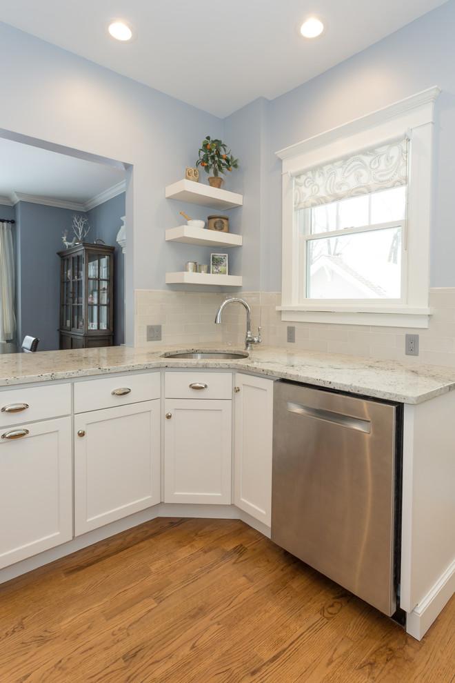 Corner Sink With Floating Shelves Transitional Kitchen New York By Kraftmaster Renovations Houzz