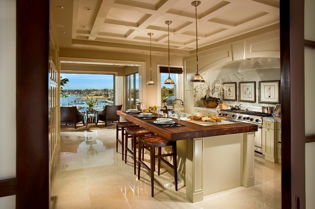 Inspiration For A Large Contemporary Single Wall Dark Wood Floor Open  Concept Kitchen Remodel In