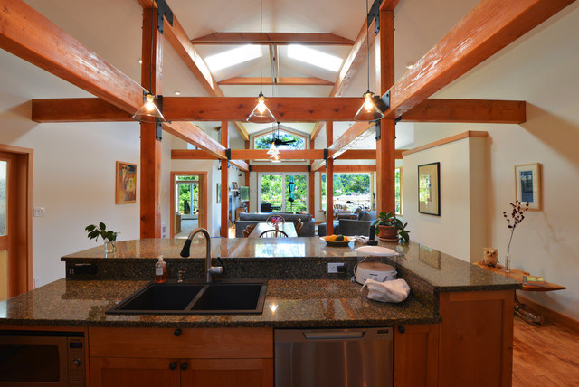 Cortes Island Whaletown House eclectic-kitchen