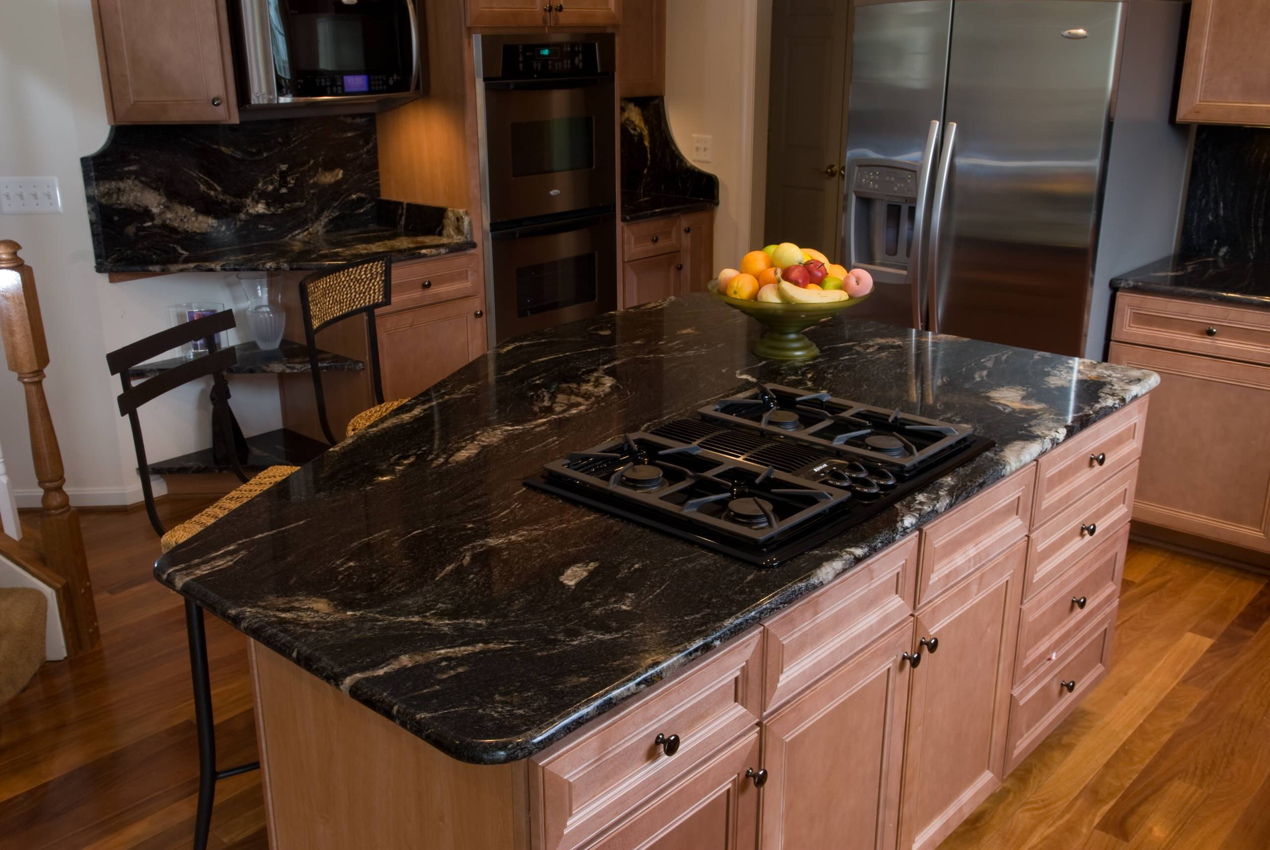 Black Granite With Maple Cabinets Houzz