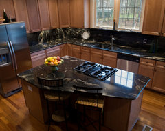 Cosmic Black Granite traditional-kitchen