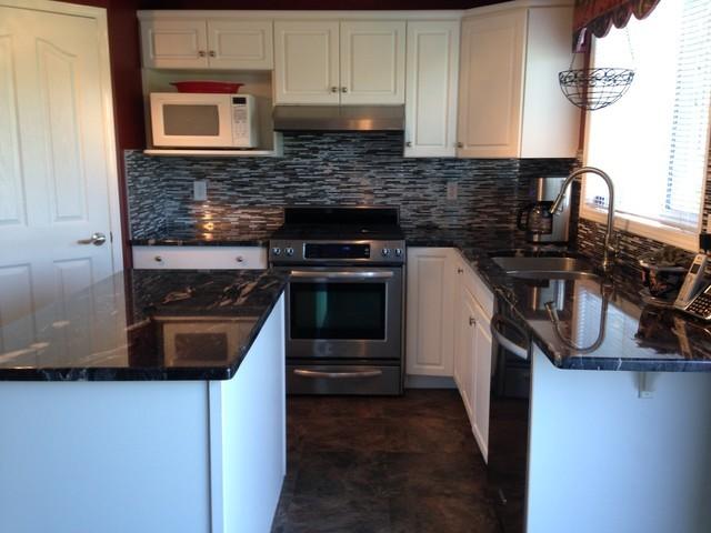 Cosmic Black Granite Kitchen/Vanities/Fireplace - Modern - Kitchen ...