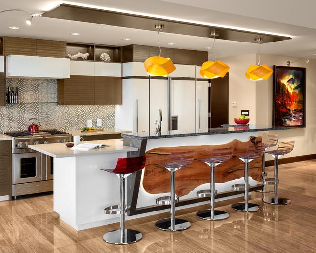 Cosmo condo with a live edge edge contemporary for Live kitchen design