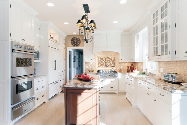 Cottage Kitchen Cabinetry Dressed In White Traditional