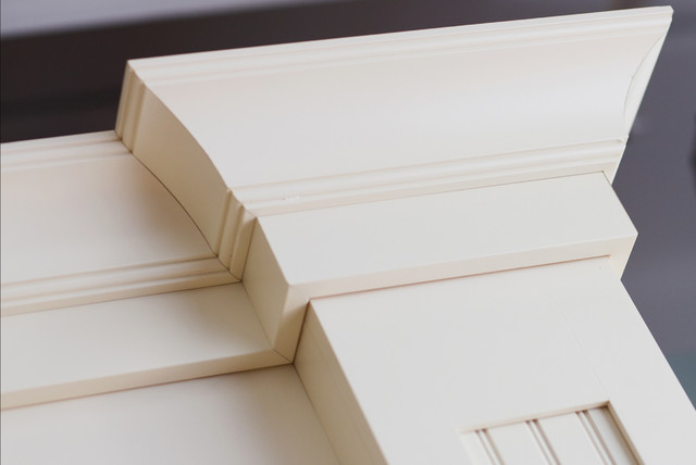 Cottage Styled Crown Molding Detail On Kitchen Cabinets