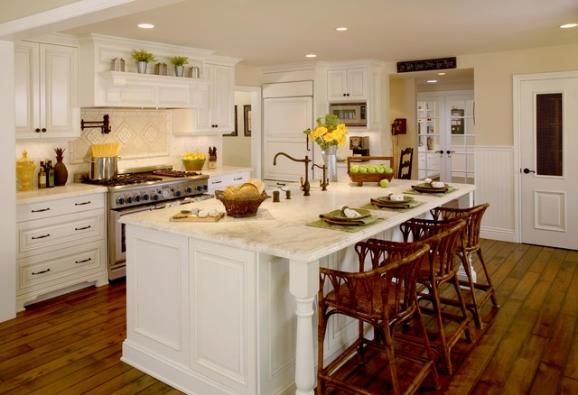 Example Of A Large Transitional L Shaped Dark Wood Floor And Brown Floor  Kitchen Design