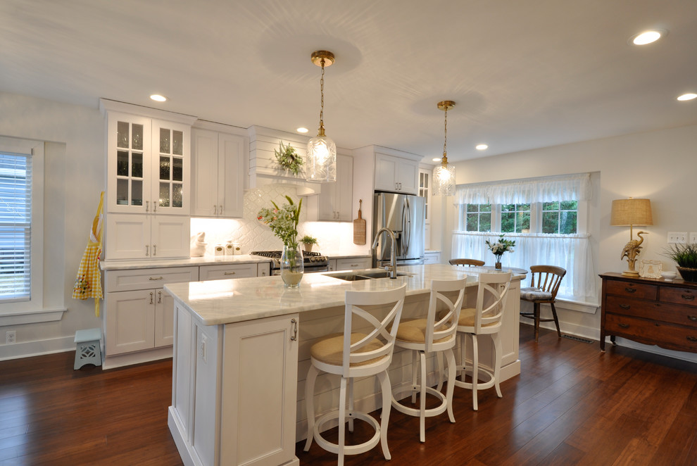 Cottage White Kitchen Design Lake of the Woods, VA - Beach ...