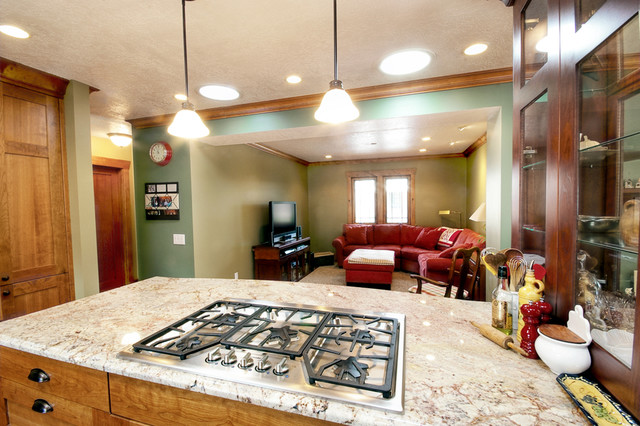 Room kitchen island with gas burner range traditional kitchen