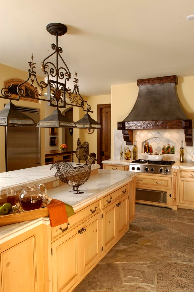 Country French Recessed Panel Knotty Pine Kitchen with ...