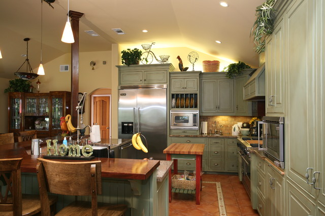 Country green kitchen farmhouse kitchen other by for Green country kitchen ideas
