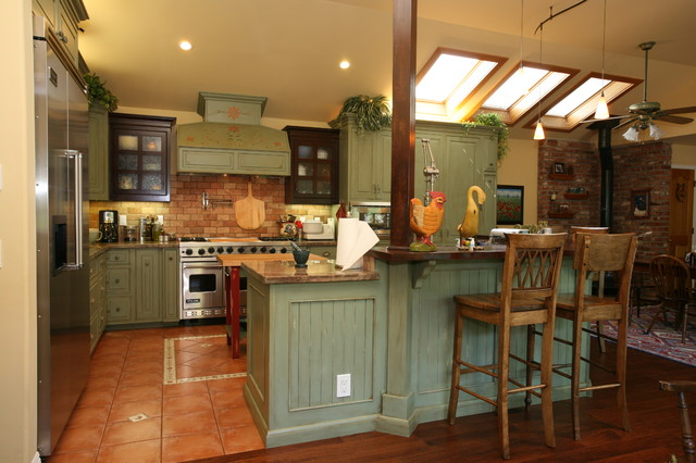 Country green kitchen farmhouse kitchen other metro for Green country kitchen ideas
