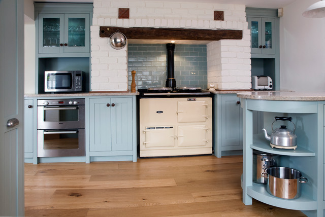 Example of a classic kitchen design in London with blue backsplash  subway  tile backsplash andCast Iron Range Cooker   Houzz. Kitchen Design With Range Cooker. Home Design Ideas