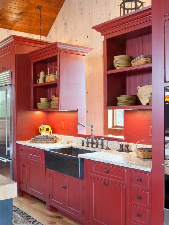 201 copper farmhouse sink Kitchen Design Photos with Red Backsplash