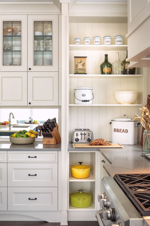 Open shelving in the kitchen town country living for Traditional kitchen shelves