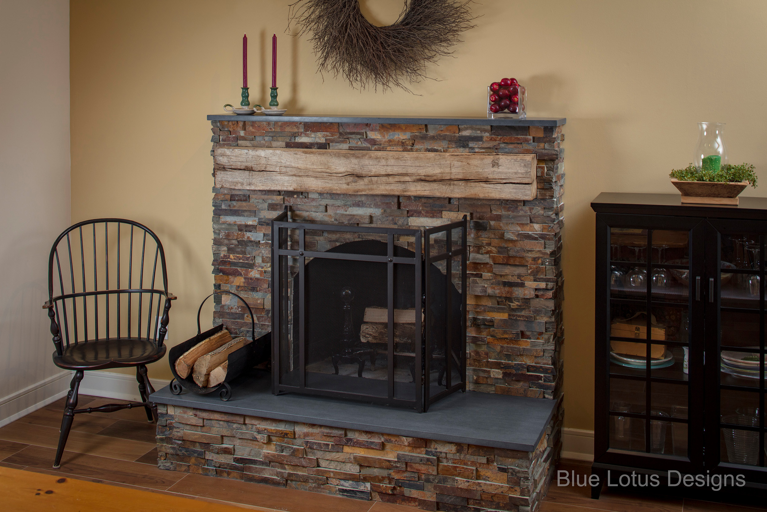 Covered brick Fireplace With Stone