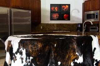 Cowhide rug modern-kitchen