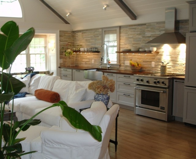 Cozy Kitchen Gathering Room With Custom Wood Countertops Floating