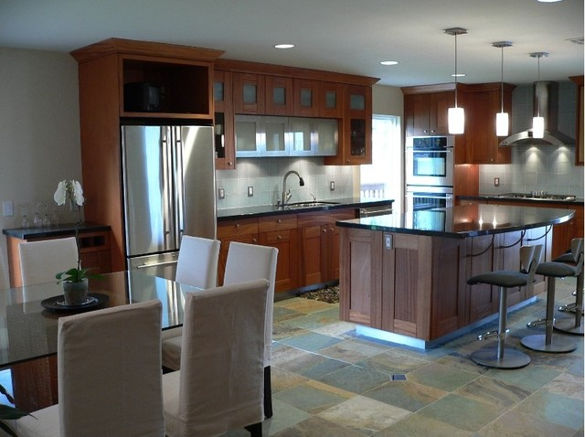 Craftsman kitchen with a contemporary twist, Mahogany wood and Stainless steel contemporary-kitchen